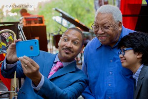 Marsalis father and son, with Joey, posing for a selfie, © Andrea Canter