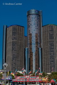 Detroit's Renaissance Center from Hart Plaza, © Andrea Canter
